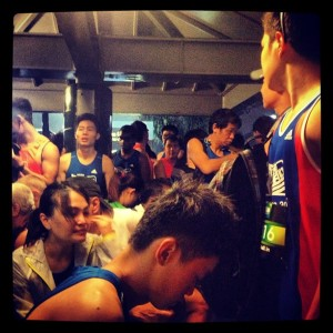 """""""#Adidas #KOTR2013 #Singapore #Runners Seek shelter from the rain.."""" #BusStop #thepadang #ConnaughtRoad #Sunday #EarlyMorning"""